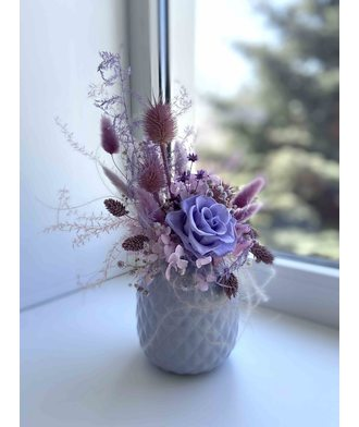 Композиция «Сиреневая нежность» (стаб. цветы)