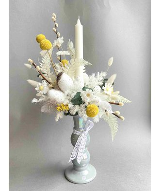 Пасхальная композиция со свечой (стаб. цветы)