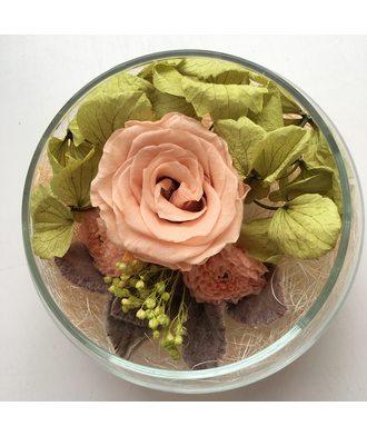 Роза в стеклянной вазе (стаб. цветы)