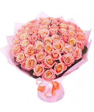 Букет из 51 розы «Коралловый риф»