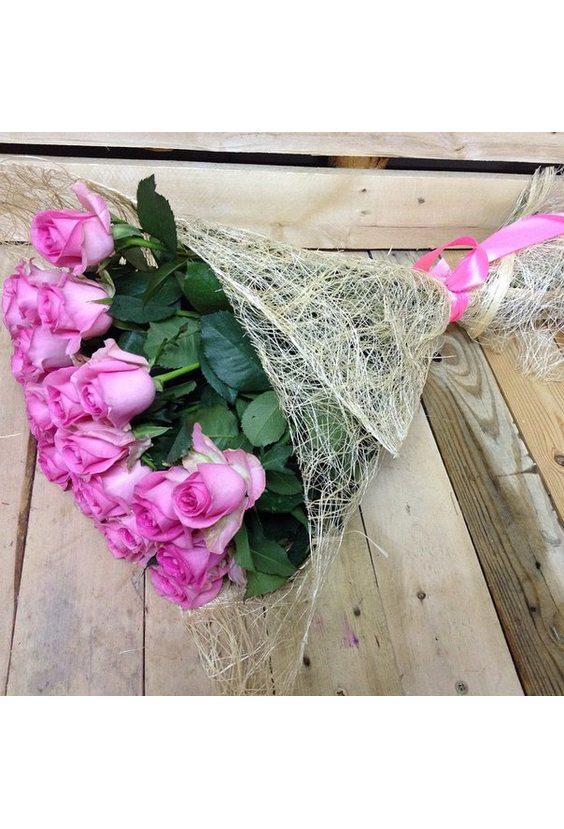 Розовые розы 15 шт