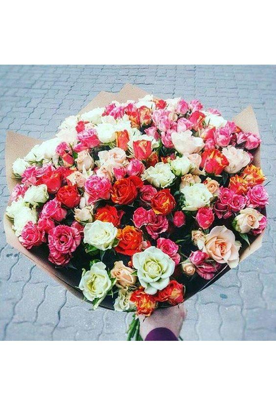 25 кустовых роз MIX