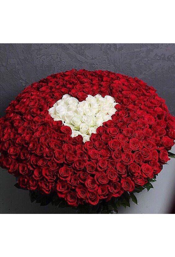 501 роза с белым сердцем