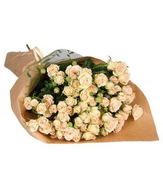 Букет 19 кустовых роз с упаковкой