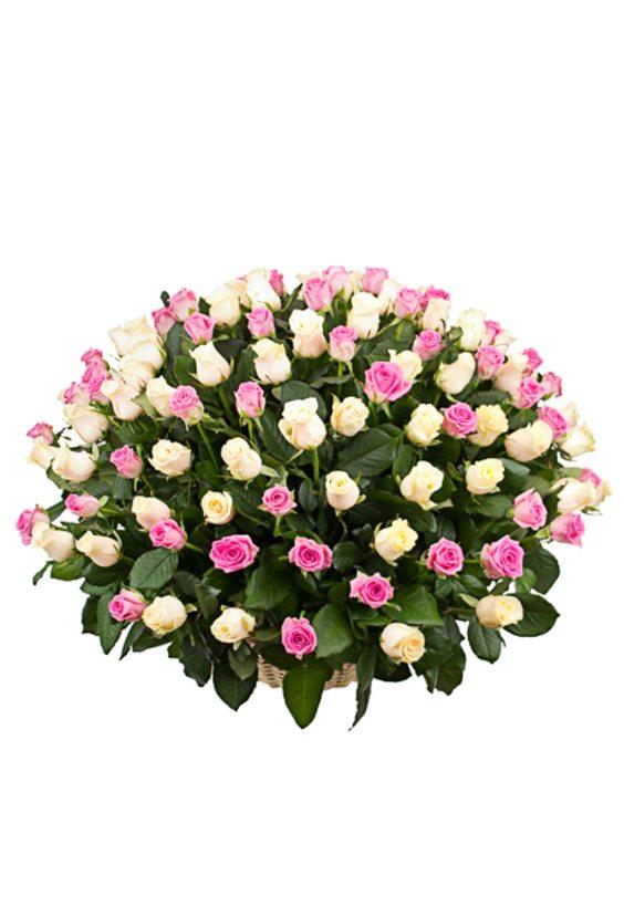 Корзина роз, 101 роза